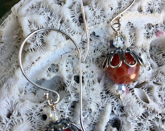 EarDangles: Sterling Silver, Hilltribe Silver, Fire Agate, and Swarovski Crystal