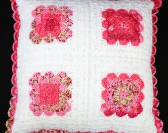 "Rose Garden Crochet 22"" cushion and pad"