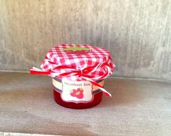 "American Food 18"" Girl Doll Strawberry Jam Jelly Jar, Miniature Fruit Preserves Food Accessory Doll Breakfast lunch Snack Food Doll Tea Food"