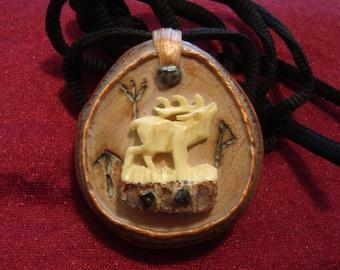 White Elk. / Rune pendant / Divine blessing / Runes /  Amulet / Runic Talisman / Nordic Symbol/ Arte Mystique / GreenwoodEnchantment / Pagan