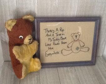 Vintage Framed Embroidery, Embroidered Teddy Bear, Nursery Wall Art, 8 X 10 Blue Frame, Chalk Painted Frame