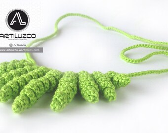 Apple Green Rulino, Crochet necklace, Necklace in natural fibers, Handmade knitted necklace