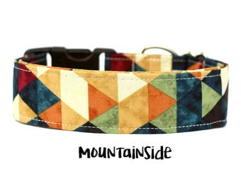 Autumn Dog Collar, Fall Dog Collar, Rustic Dog Collar, Geometric Dog Collar, Wide Dog Collar (Add Upgrade for Metal Buckle/Martingale)