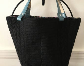 Black Cable Felted Tote Bag