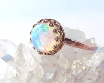 Opal ring, Rose Gold Opal Ring, Gold Opal Ring, Rose gold Stacking Ring, Opal stacking ring, Opal birthstone ring, October jewelry, rings