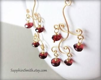40% off MOZAMBIQUE Red Garnet & Bali Gold Vermeil Chandelier Earrings, deep wine red gemstones