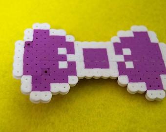 White/Purple 8-Bit Perler Bow