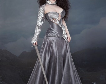 Asymmetrical Silver Scalemail Corset