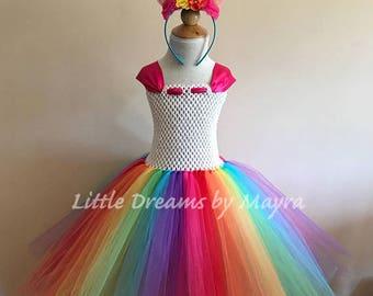 Rainbow unicorn tutu dress, Unicorn birthday party outfit, Rainbow unicorn birthday party costume size nb to 14years