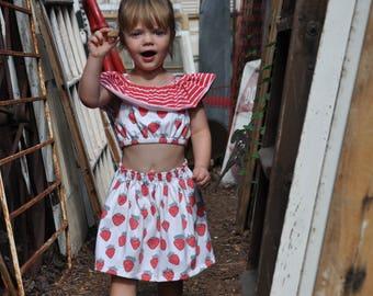 Strawberry Crop & Skirt