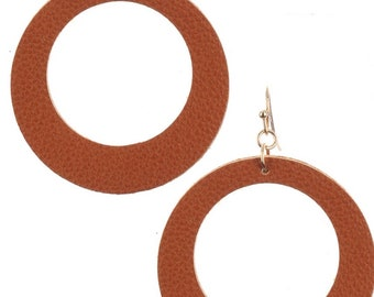 Leather Look Cutout Round Earrings - Gold/Brown