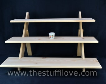 3 Tier Deep Wide Portable Riser Craft fair Display Shelving Stand.