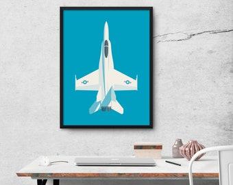 F/A-18 Hornet & Super Hornet Jet Fighter Aircraft Poster Wall Art Print