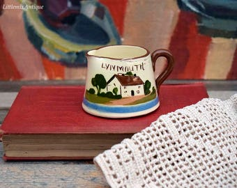 Vintage Watcombe Torquay Pottery England 'Lynmouth' Motto Ware 'Time Ripens All Things' Tiny Jug Collectible English Pottery Motto Ware