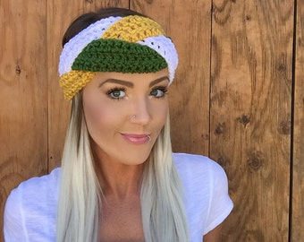 White Green Gold Mustard Green Bay Headband || Braid Head Wrap Hair Football Accessory Band Earwarmer Fall Fashion Girl Woman Unisex