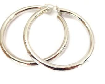 Large Hoop Earrings Thick Round Silver Plated Hoops Tube Hoop Earrings Solid Hoops 2.75 inch