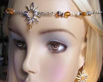 Sun Goddess Circlet Set, Sol Headpiece, Topaz Crystal Pagan Circlet