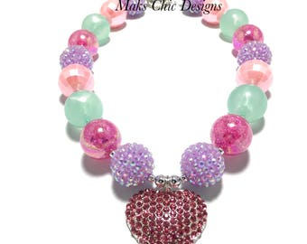 Toddler or Girls Valentines Day Heart Chunky Necklace - Purple, Pink and Mint Chunky Necklace - Hot Pink and Mint Valentines Necklace