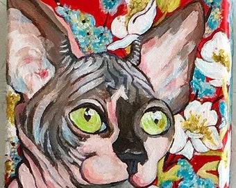 "Hairless Cat & Flowers Portrait - Original Acrylic Painting 5""x 5"""