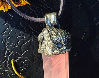 Handsculpted Rosequartz Feather Pendant (choice of silver, or gold