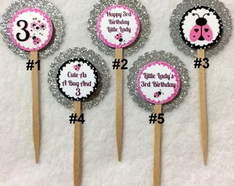Set Of 12 Personalized Lady Bug 3rd Birthday Party Cupcake Toppers (Your Choice Of Any 12)