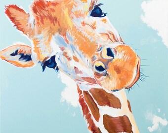 Giraffe Art Print, Kids Room Decor, Nursery Wall Art, Blue, Orange,  12x16, Willow Branch Studio, Gift for Children