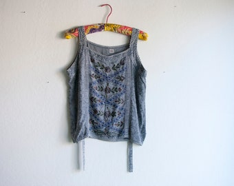 Vintage indian embroidered tank top blue floral renaissance swirl ribbon top boho hippie denim 90s