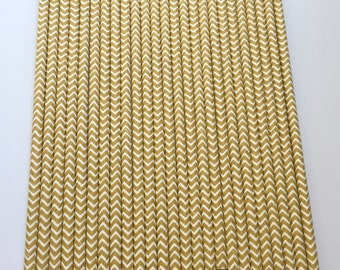 LIGHT BROWN CHEVRON Paper Straws / Party Straws / Party Decor / Chevron Straws / Paper Party Straws / Fall Straws / Drinking Straws