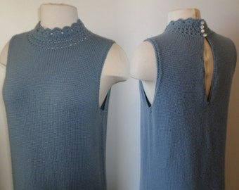 Knit sweater dress blue vintage 1960s
