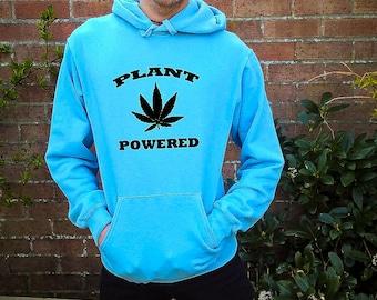 Plant Powered, plants, plant based, vegan sweatshirt, vegan hoodie, vegan jumper, vegan sweater, weed sweater, weed hoodie, funny sweatshirt
