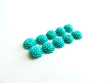 lot 10 10mm Green dahlia flower cabochons