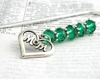 Maman marque-page avec billes vert émeraude Berger signet de crochet en acier marque-page couleur argent perlé