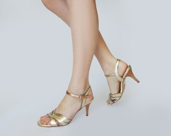 Comfortable wedding shoes, Gold Wedding sandals, Copper wedding shoes, Bridesmaid shoes, Leather heels, Gold pumps, Open toe wedding shoes