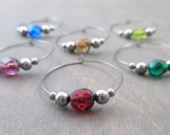 6 crystal wine charms | gift box | wine glass charms - unique wine gift - wine hostess gift - wine accessories - wine glass markers | PNC6-1