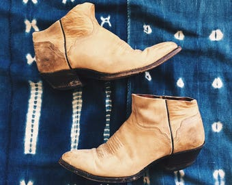 Vintage Reclaimed Tan Leather Cowboy Cutoff Boots