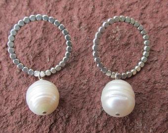 Sterling Silver Pearl Hoops Handmade Silver Lightweight Hoop Earrings