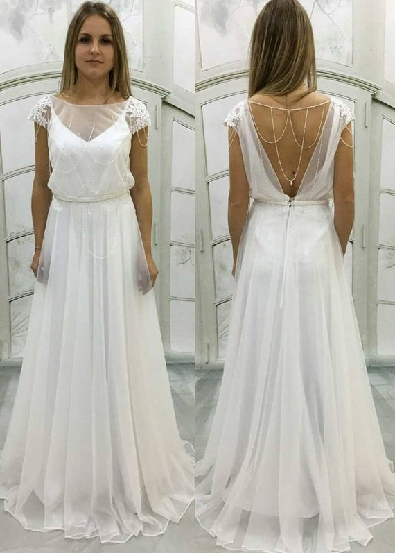 Boho Vintage Inspired A-Line Chiffon Wedding Dress with