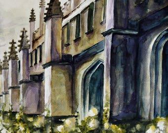 Original Art Watercolor Magdalen College Oxford Castle Flowers England Anglophile