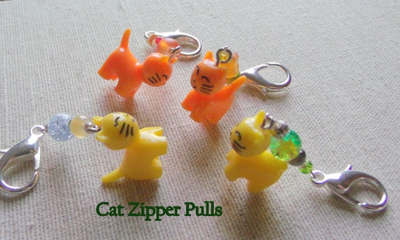 Cat zipper pulls - orange - yellow resin stitch marker  - tote - bag  - kitty girl journal charms -  accessory - Teen gift - Easter basket