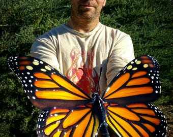 "20"" monarch butterfly sculpture. Embossed metal!"