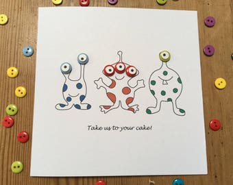 Aliens Birthday Card - Martians Birthday Card - Outer Space Birthday Card - with Button Eyes - Handmade Greeting Card, Funny Birthday Card