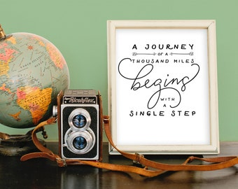 A Journey of a Thousand Miles Begins with a Single Step art print digital download