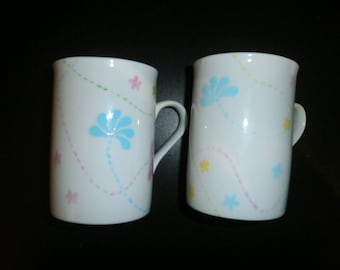 "the pastel pattern ""julie""-painted porcelain 2 mugs"