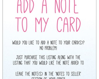 Add a Note To My Card