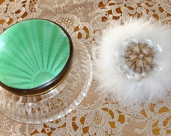 Vintage Guilloche Cut Glass Powder Bowl With Down Powder Puff Made In England Shabby Chic