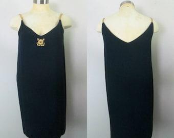 Navy & Gold Nautical Sheath Dress 1990s Randy Kemper