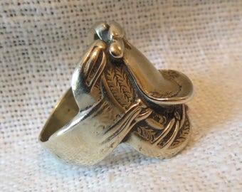 Brass Cowboy Saddle Ring SZ 8.75
