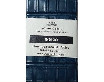 Encaustic Indigo Tablet Wax Paint made of beeswax and best damar resin