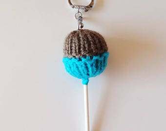 Keychain / bag charm pair turquoise and Brown