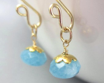 Blue Gemstone Earring Charms 14K Gold Filled interchangeable Dangles Angelite